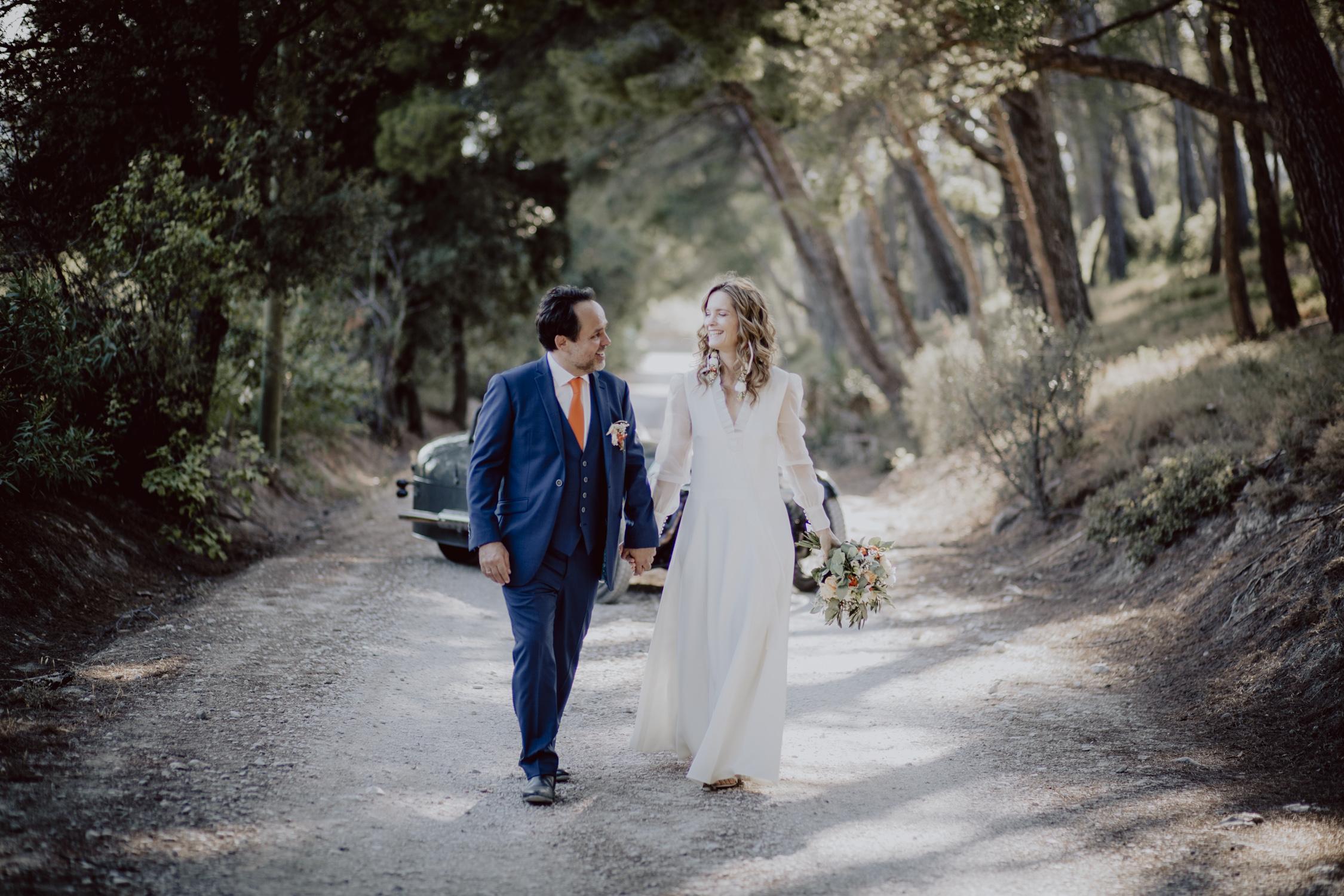 couple de marié au Mas du Boutonnet